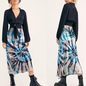 Free People Serious Swagger Tie Dye Midi Skirt